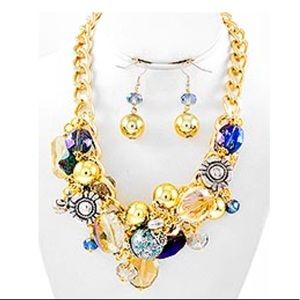 Jewelry - Cluster Necklace & Fish Hook Earring Set